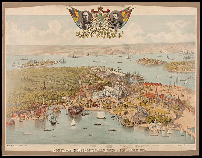 Plansch som visar illustrerad karta över Stockholmsutställningen 1897