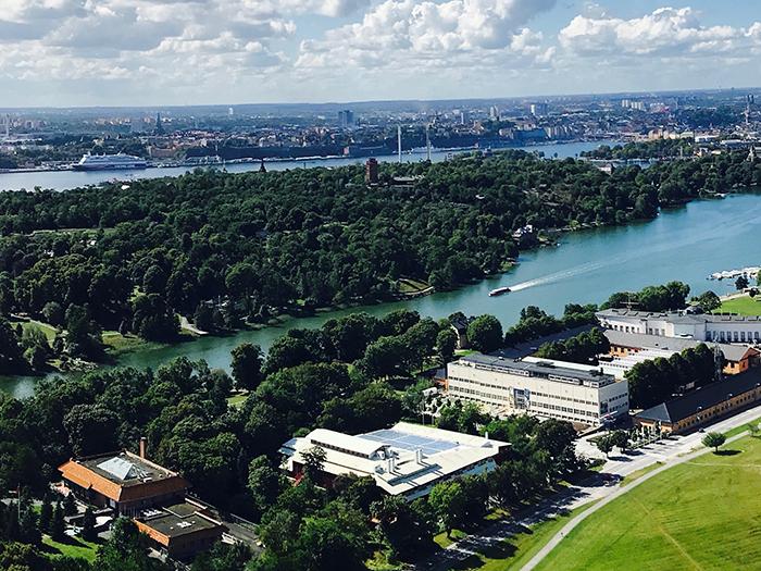 Flygfotovy över Djurgården från Kaknästornet